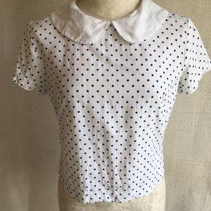 Vintage 60s Riverdale Cotton Polka Dot Blouse